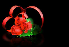 St. Valentine Day. Two hearts, red roses. Stock Image