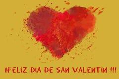 St Valentine de prentbriefkaar van daggroeten Minnaar` s dag Rood waterverfhart op gouden achtergrond vector illustratie