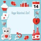 St Valentine Geplaatste Dagpictogrammen Stock Foto's