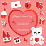 St Valentine Geplaatste Dagpictogrammen Royalty-vrije Stock Foto's