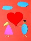 St Valentine hand - gemaakte document prentbriefkaar stock foto