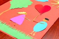 St Valentine hand - gemaakte document prentbriefkaar stock afbeeldingen