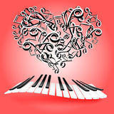 St. Valentine love card with hearts and piano keys. Music of lov Royalty Free Stock Photography