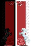 St Valentine rear black and white horse banners Stock Images