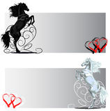 St Valentine rear horse banners black and white Royalty Free Stock Images