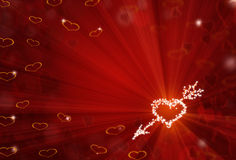 St.Valentine red background with shining heart shape stars. And bokeh Royalty Free Stock Images