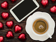 St Valentine's breakfast with coffee and chocolate Stock Photos