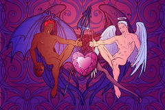 St. Valentine's cupid and demon horisontal stock image