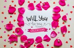 St Valentine ` s Dag uitstekende samenstelling van groetnota royalty-vrije stock afbeeldingen