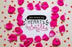 St Valentine ` s Dag uitstekende samenstelling van groetnota royalty-vrije stock foto