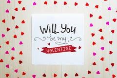 St Valentine ` s Dag uitstekende samenstelling van groetnota met het van letters voorzien Stock Foto's