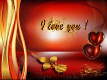 St Valentine's day. Greeting Card for Valentine's Day, a rose and hearts Royalty Free Stock Photos