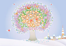 St.Valentine's day. Vector illustraton of a blooming abstract tree Royalty Free Stock Photography