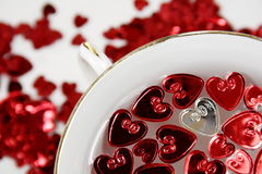 St-valentine's day. Hearts with a porcelain white cup Royalty Free Stock Images