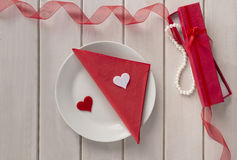 St Valentine`s day. Arranged valentine Royalty Free Stock Photos