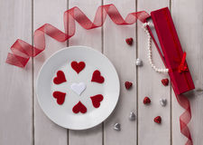 St Valentine`s day. Arranged valentine.valentine day. Red heart on a old wooden background. St Valentine`s day. Arranged valentine.valentine day Royalty Free Stock Photo