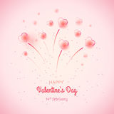 St. Valentine`s day background with bubble hearts fireworks. St. Valentine`s day background with many bubble hearts and firework. Can be used as greeting card or Stock Photo