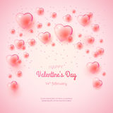 St. Valentine`s day background with many bubble hearts. Royalty Free Stock Images