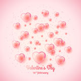 St. Valentine`s day background with many bubble hearts. Stock Image