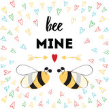 St. Valentine`s Day banner with hearts and love bee. Love quote Be mine. St. Valentine`s Day card with hand drawn color hearts, arrow and love bee. Ideal for Royalty Free Stock Image