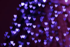 St. Valentine's Day blue heart bokeh background Stock Images