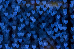 St. Valentine's Day blue heart bokeh background Royalty Free Stock Photos