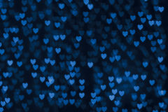 St. Valentine's Day blue heart bokeh background Royalty Free Stock Image