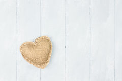 St Valentine's Day Burlap Heart Royalty Free Stock Photo
