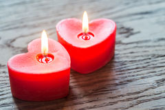 St. Valentine`s day burning candles Stock Photo