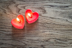 St. Valentine`s day burning candles Stock Photos