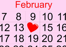 St. Valentine's day calendar Royalty Free Stock Image