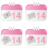 St. valentine's day calendar icons Stock Photo