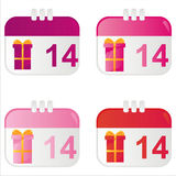 St. valentine's day calendar icons Stock Photography