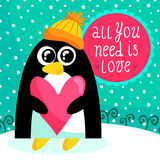 St. Valentine's Day card with cute penguin royalty free stock photo