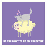 St. Valentine`s Day cute cartoon postcard to make a declaration of love Royalty Free Stock Images