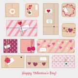 St Valentine`s day gift boxes. Romantic, love presents set. vector line icons Royalty Free Stock Photo