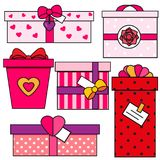 St Valentine`s day gift boxes. Romantic, love presents set. Colorful vector icons Royalty Free Stock Images