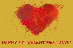 St. Valentine`s day greetings postcard. Lover`s day. Red watercolor heart on golden background stock illustration