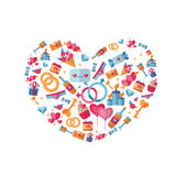 St Valentine's Day heart with flat icons. Royalty Free Stock Photo