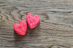 St. Valentine`s day heart-shaped candles Royalty Free Stock Images