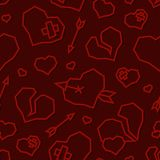 St. Valentine`s Day Hearts Low Poly Seamless Pattern. Dark Version royalty free stock photo