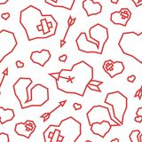 St. Valentine`s Day Hearts Low Poly Seamless Pattern White Background stock photos