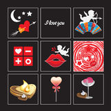 ST. Valentine's day icons. Attributes for love day- Valentine's day Royalty Free Stock Image