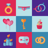 St Valentine's Day icons in flat style and pretty bright colors. Royalty Free Stock Image