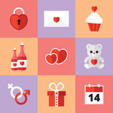 St. Valentine's Day Icons Set Royalty Free Stock Photography