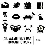St Valentine`s day icons. Set of romantic, love holidays symbols. Printable black silhouettes Stock Images