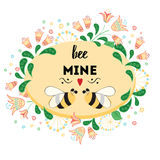 St. Valentine`s Day oval frame with meadow flowers and love bee. Love quote Be mine. St. Valentine`s Day circle frame with hand drawn summer meadow flowers and Royalty Free Stock Photo