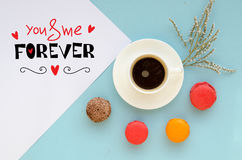 St Valentine`s Day overhead composition of note with love confession and coffee Stock Photography
