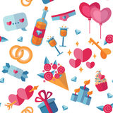 St Valentine's Day pattern with flat icons. Royalty Free Stock Photography