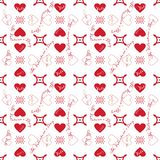 St. Valentine's Day. Pattern with red hearts on white background Royalty Free Stock Photography